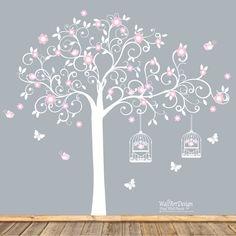 White Swirl Tree with Pink Flowers Birds Nursery Vinyl Wall Decal Sticker on Etsy, £70.25