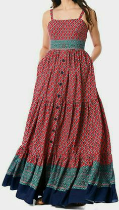 I this Floral tile border print crepe tiered maxi dress from eShakti Floral Dress Outfits, Casual Dresses, Look Fashion, Fashion Outfits, Cotton Long Dress, Casual Cotton Dress, Dress Indian Style, Indian Designer Outfits, African Fashion Dresses