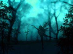 BLUE  Art   enchanted forest blue by musicalpaintings digital art ...