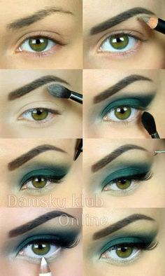 Green Eyeshadow, white eyeliner on the waterline. Gorgeous Makeup, Pretty Makeup, Makeup Looks, Eye Makeup, Makeup Tips, All Things Beauty, Beauty Make Up, Makeup Inspo, Makeup Inspiration