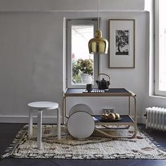 「TEA TROLLEY 901」、「スツール60」とアアルトづくしのお部屋。単純にうらやましいです。