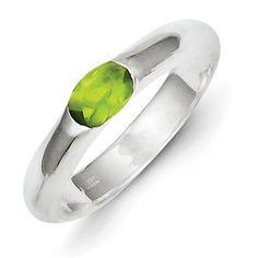Sterling Silver Lime Green Oval CZ Half Bezel Ring - Size 6 - JewelryWeb, Women's