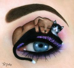 Israeli Artist Creates Miniature Eyelid Paintings Of Cats, Princesses, And Dali Paintings