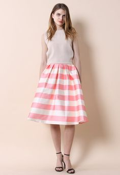 Candy Pink Striped Midi Skirt - Retro, Indie and Unique Fashion