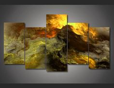 Own this amazing abstract golden clouds wall canvas today we will ship the canvas for free. This is the perfect centerpiece for your home. It is easy to assemble and hang the panels together which makes this a great gift for your loved ones.  This painting is printed not handpainted and is ready to hang! We have 1 options for this canvas -- Size 1: (20x55cmx1,20x40cmx4) Limited quantities left. www.octotreasures.com