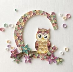 Owl Made From Quilling Quilling Letters, Paper Quilling Patterns, Quilled Paper Art, Quilling Paper Craft, Paper Crafts, Neli Quilling, Quilling Tutorial, Serpentina, Quilled Creations
