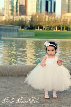 Ivory and white couture flower girl dress