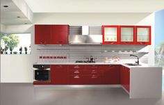 Captivating Red Kitchen Designs To Inspire You : Captivating White Painted Walls LShaped Kitchen Decorating with Red Kitchen Cabinets