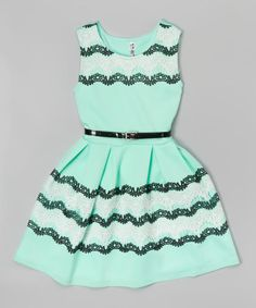 Another great find on #zulily! Mint Lace Stripe Lace-Detail Dress - Girls by Beautees #zulilyfinds