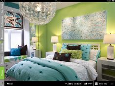 Traditional Bedroom Teenage Girl Room Design, Pictures, Remodel, Decor and Ideas - page 6 Love the colors! Cool Bedrooms For Teen Girls, Awesome Bedrooms, Cool Rooms, Girls Bedroom, Bedroom Decor, Bedroom Ideas, Bedroom Modern, Contemporary Bedroom, Bedroom Colors