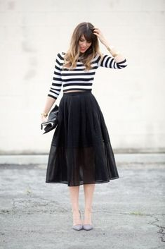 40d7eb4ce9 106 Casual Fall Outfit Ideas with Long Sleeve T-shirt and Skirt