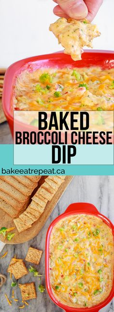 This hot, baked broccoli cheese dip is easy to mix up and can be made ahead of time. Everyone will love this appetizer served with crackers or veggies! #appetizer #dip #broccoli #cheese #baked