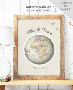 Globe Guest Book Alternative  Travel Theme by MissDesignBerryInc