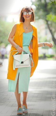 #LoefflerRandall #zaraVest #MSGMSlipons #MSGM #turquoise #ColorBlock #StreetStyle #ChicStyle #SummerOutfit #GalantGirl