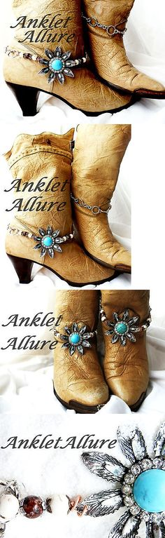 Anklets 110634: Turquoise Boot Chains Boho Boot Jewerly Boot Bracelets Boot Bling Foot Jewelry BUY IT NOW ONLY: $38.0