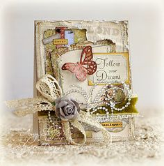 Another shabby card Cool Cards, Diy Cards, Envelopes, Card Creator, Decoupage, Shabby Chic Cards, Ideas Geniales, Beautiful Handmade Cards, Butterfly Cards