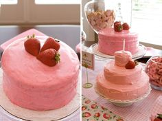 Clara wants a 3 layered pink strawberry cake. Make the strawberries heart shaped!