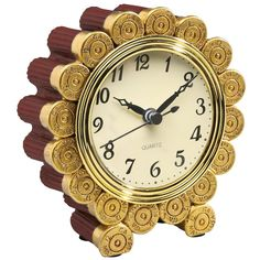 Shotgun Shell Desktop Clock - Exclusive Gift for Father's Day, Brown (Metal)