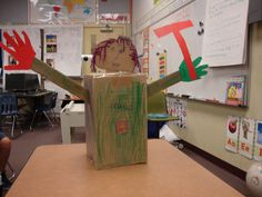 A lever in the back makes the head and arms move up and down. Simple Machine Projects, Miss Mary, 9th Birthday Parties, Simple Machines, Inventors, Project Ideas, Homeschool, Engineering, Arms