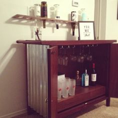 Dumpster save turned into a custom, industrial and functional bar.