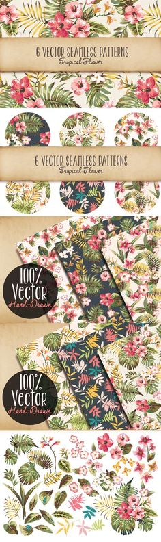 Seamless Tropical Patterns Vol 1 by Graphic Box | The Comprehensive, Creative Vectors Bundle Mar 2015 from Design Cuts: