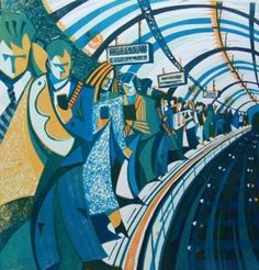 Platform Talk by Paul Cleden Modern Art, Contemporary Art, Street Gallery, Wood Engraving, Linocut Prints, Wood Print, Art Print, Art And Architecture, Printmaking