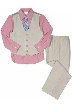 Boys Van Heusen $54 4pc Navy /& White Vest Suit Size 4-12