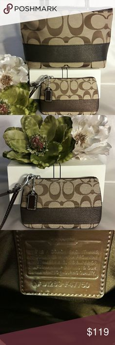 💜🎉New! COACH Signature Stripe Bag Set🎉🎉💜 Brand New! NWOT ♤GORGEOUS♤! 🎀 Classic Coach Signature Stripe Handbag Set 🎀 Features: Brown/Tan Signature Jacquard Fabric. Inside lining that's spotless! All silvertone hardware and double strap patent leather handles. Matching wristlet will be included. COACH  Bags