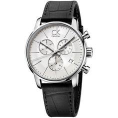 City Chronograph White Black Leather Men's Watch
