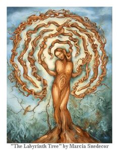 "Ethereal art by Marcia Snedecor ""The labyrinth, like the spiral, contains a sacred center or still-point to be reached by traveling a winding but guiding pathway. Like life's journey, there are twists and turns but the pathway leads always to the center."""