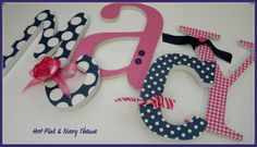 Wooden Letters Nursery HOT PINK and NAVY Theme by dwellingonline, $8.50