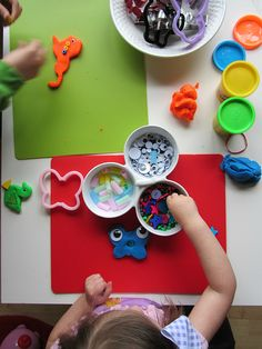 Add fun bits of things to play dough for a fun rainy day activity.