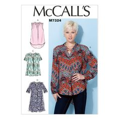 McCall's 7324 Sewing Pattern - Misses' Half Placket Tops & Tunic