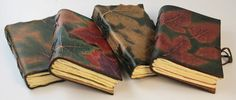 Unique Book Colection Of Autumn Leaves Texture Leather Journals