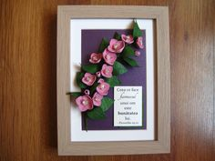 Quilled branch of pink flowers (on a 15x20 cm frame)