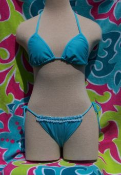 Light blue triangle top, crochet trim on bottoms in Brazilian Bikini Blowout!!