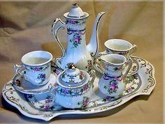 Limoges China Pink Blue Miniature 7 Piece Tea Set 15385 Tea for Two Porcelain | eBay