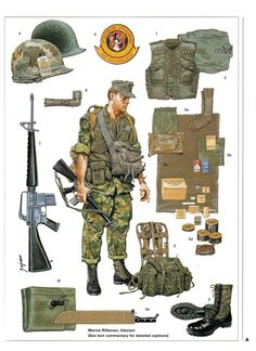 Marines in Vietnam Military Gear, Military Weapons, Military History, Military Uniforms, Diorama Militar, Mighty Power Rangers, Military Drawings, Vietnam War Photos, Military Figures