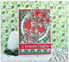 открытка, скрапбукинг, шейкер, цветной чипборд Благолис, новогоднее