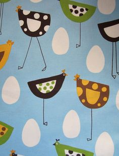 Whimsical Chicken & Egg Print Fabric by littlehumsewingshop, $8.10