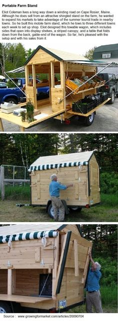 Portable Farm Stand By Eliot Coleman Farmers Market Display, Market Displays, Farmers Market Stands, Eliot Coleman, Foodtrucks Ideas, Craft Font, Vegetable Stand, Produce Stand, Fruit Shop