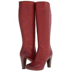 Frye Marissa Back Zip Tall (Burnt Red Soft Vintage Leather) Cowboy... ($253) ❤ liked on Polyvore featuring shoes, boots, knee-high boots, red, knee high cowgirl boots, frye boots, red boots, red tall boots and tall cowboy boots