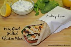 Trying to Eat Lean-Easy Greek Grilled Chicken Pitas With Tzatziki Sauce - Easy Peasy Pleasy Greek Chicken Pita, Greek Grilled Chicken, Grilling Recipes, Cooking Recipes, Soup And Sandwich, Pita Sandwiches, Cuban Sandwich, Greek Recipes, Pita Recipes