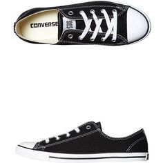 Womens Converse Chuck Taylor Womens All Star Dainty Lo Shoe Black... ($60) ❤ liked on Polyvore featuring shoes, sneakers, converse, black, footwear, womens footwear, canvas shoes, black trainers, star sneakers and converse sneakers