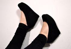 Black close-toed wedge #love