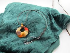 Fall leaf pendant by ClayHoliday on Etsy, $14.00
