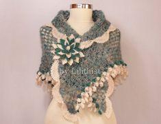 Crochet Shawl Scarf Winter Wedding Shawl Crochet Wrap by lilithist