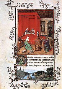 JAN VAN EYCK, pittore. Il libro d'ore miniato da diversi artisti, tra cui Van Eyck. Questa miniatura su pergamena è databile ca nel 1422-24, di 28 x 19 cm. L'intero libro è conservato al Museo Civico d'arte antica a Torino.