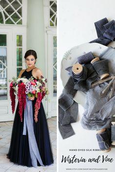 Black gray hand dyed silk ribbon for an elegant wedding