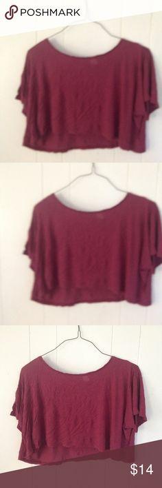 Cute Dividend burgundy half shirt. Cute Dividend half shirt/ The color of the shirt is burgundy/ Size 8 (m) / In great shape/ No swaps. Divided Tops Crop Tops